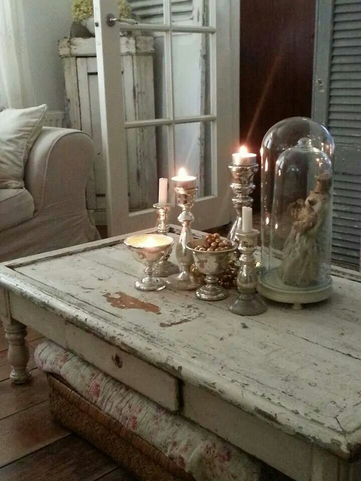 .Cloche vignette with some silver and candles