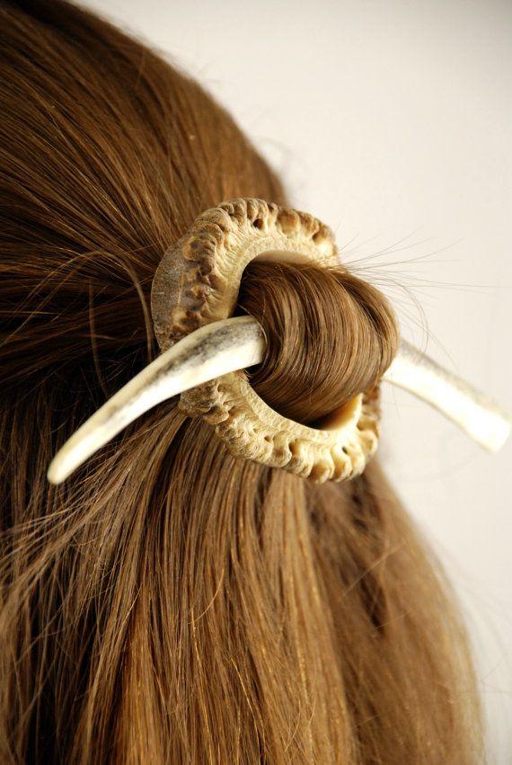 Natural antler hair accessory, clip bone roe deer slide haar celtic pagan gypsy burr base stick medieval rustic organic elegant outstanding