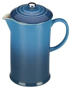This Café French Press is simply gorgeous. I am a coffee addict and serving coffee in a beautiful blue french press makes it even better. The perfect home decor accent for any country or beach style home.