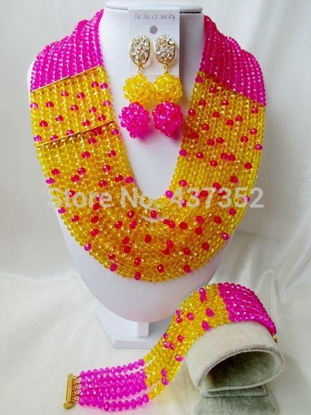 Сказочные! фуксия Розовый Желтый Кристалл Ожерелья Костюма Нигерийские Свадебные Африканские Бусы Комплект Ювелирных Изделий NC1822