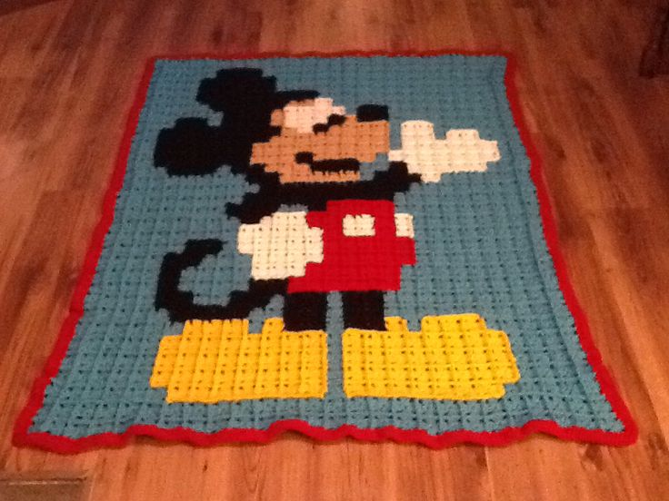 Free Crochet Pattern Mickey Mouse Blanket Dancox For