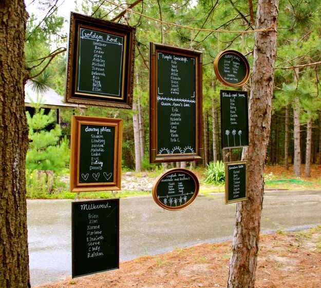 Use chalkboard paint picture frames to list the seating chart.