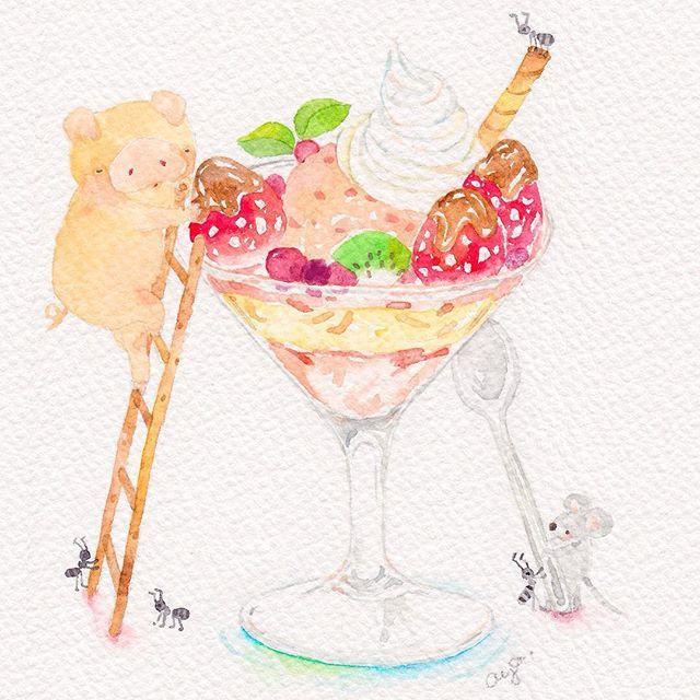 運んだイチゴチョコをのっけたら、大っきなパフェの出来上がり〜 誰のパフェかは次の絵で Delivered strawberries are placed on top, and the big strawberry chocolate parfait is completeWho is this big parfait for? #sketch #painting #drawing #illustration #art #watercolor #ayakobayashi #cute #kawaii #sweet #スケッチ #水彩画 #イラスト #こばやしあや #かわいい #ぶた #いちご #バレンタイン #苺 #チョコレート#ねずみ #パフェ #サンデー #valentine #piggy #mouse #parfait #sundae #strawberry #chocolate