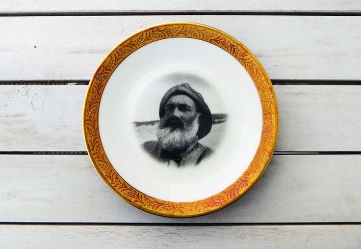 Wand und Dekoteller Vintage 20cm Seemann Maritim Wandteller breiter Goldrand Herr Fuchs Teller Wanddeko Interior Ceramics