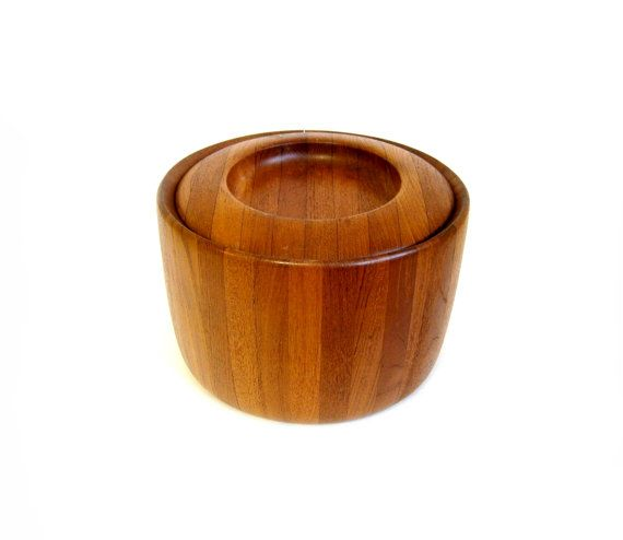Teak Ice Bucket Round Wood Danish Modern Mid by RobinsRoostVintage, $48.00
