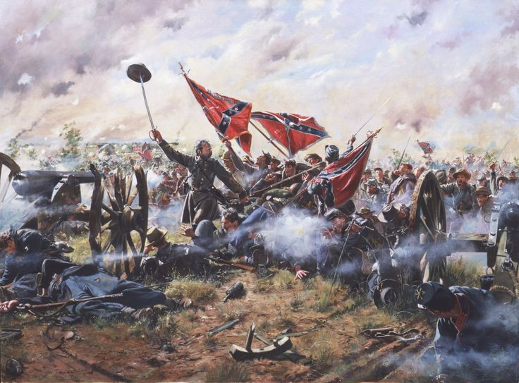 """""""The Highwatermark"""" Brig. Gen. Lewis Armistead leads his men over the stone wall and up to Cushing's guns just before he was shot and mortally wounded during Pickett's Charge on July 3, 1863 at Gettysburg."""