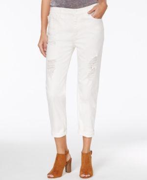 Armani Exchange Ripped Cuffed Boyfriend Jeans - White 2