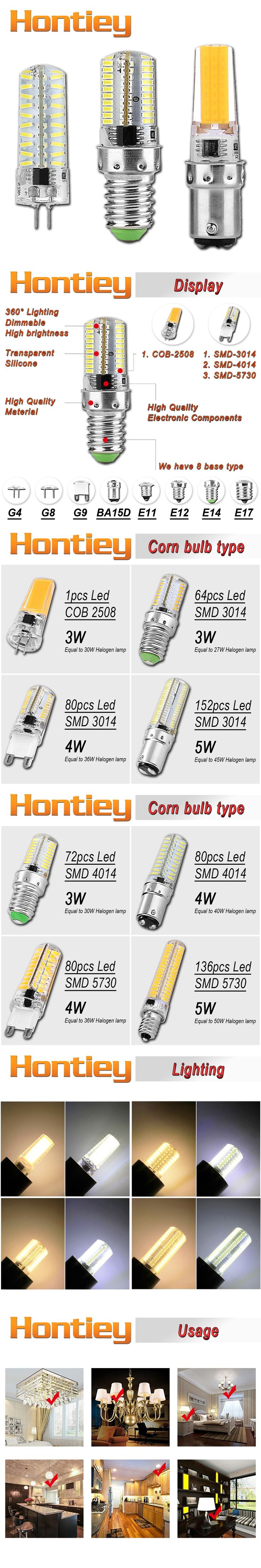 Hontiey LED Silicone Corn bulb Warm Pure White light 110V 220V G4 G8 G9 E11 E14 E17 BA15D Replace 20-50W Halogen lamp Chandelier