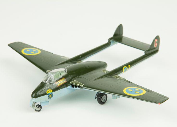 Model aeroplane De Havilland Aircraft Vampire. Skala 1:72   Flygvapenmuseum   CC BY
