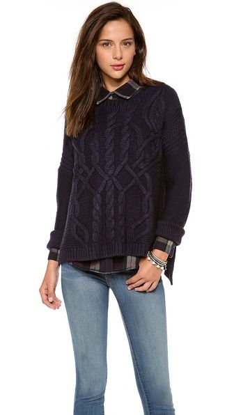525 America Traveling Cable Boyfriend Sweater from @Shopbop