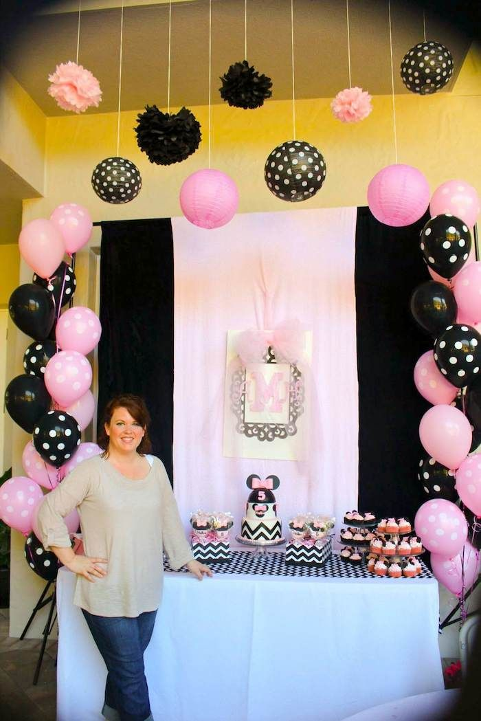 Minnie Mouse themed birthday party with Lots of Really Cute Ideas via Kara's Party Ideas   KarasPartyIdeas.com #minniemouseparty #minniemousecake #partyideas (8)