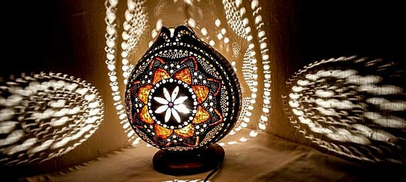 100% HANDMADE Gourd lamps Ottoman Turkish table lamp stehlampe
