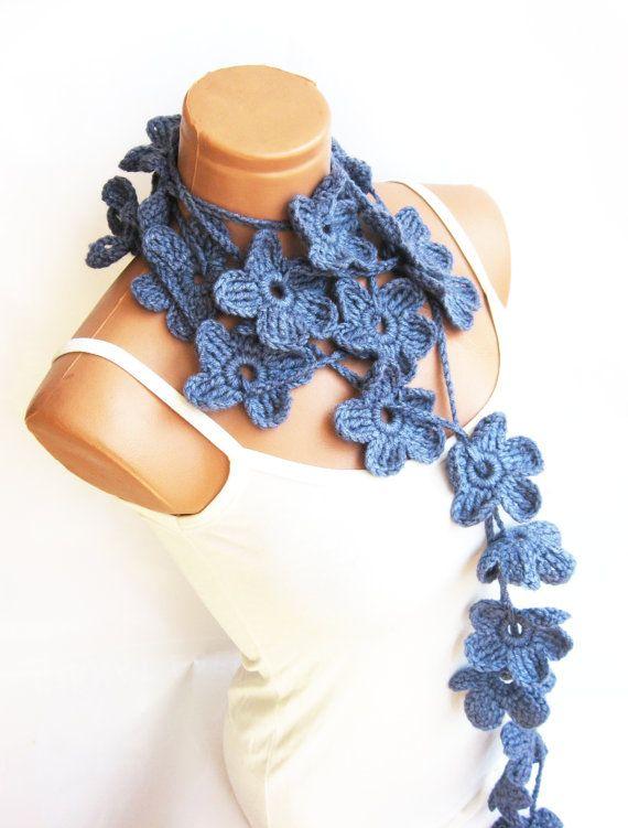 Pastel Blue Hand made crochet Flower Lariat by WomanStyleStore, $25.00