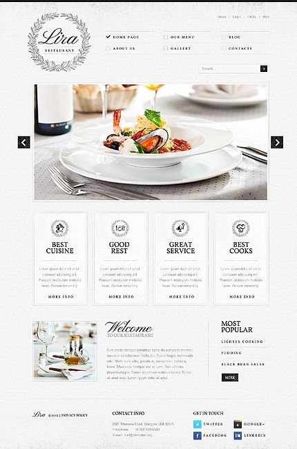 Elegant Wordpress Restaurant Website Template With Homepage Slider
