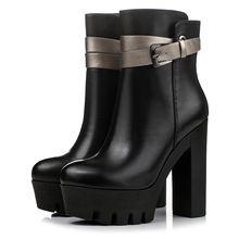 2016 Femmes D'hiver En Cuir Véritable Zip Martin Bottes Sexy Haute Talons Plate-Forme Chaussures Cheville Courtes Bottes D'équitation Chunky Talons(China (Mainland))