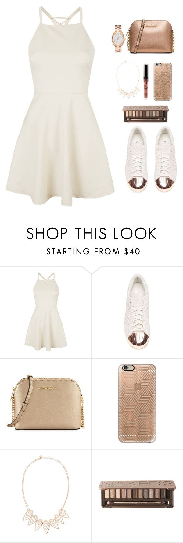 """""""Rose gold and white summer outfit"""" by emmeleialouca ❤ liked on Polyvore featuring Topshop, adidas, MICHAEL Michael Kors, Casetify, Jules Smith, Urban Decay and Kate Spade"""