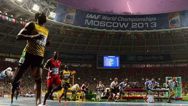 This awesome image of Usain St. Leo Bolt (conveniently born in August & nicknamed 'The Lightning Bolt) was taken during his world championship winning, 100m sprint in Moscow.