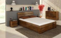 Łóżko bukowe Visby Sandemo High Drawers (z szufladami)