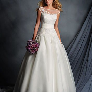 Alfred Angelo 2518 Illusion Neckline Lace Ball Gown Wedding Dress