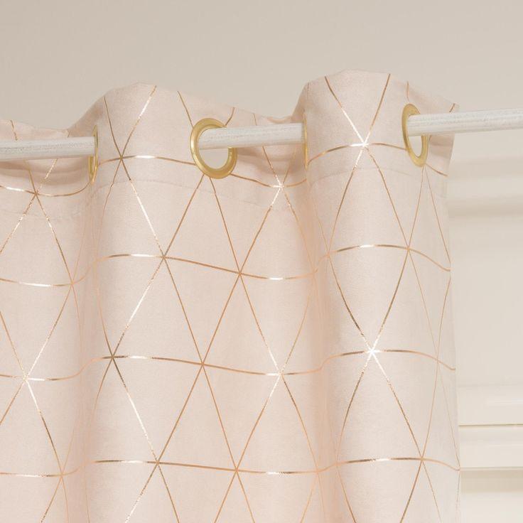 QUEENS beige/gold eyelet curtain 135 x 250 cm | Maisons du Monde