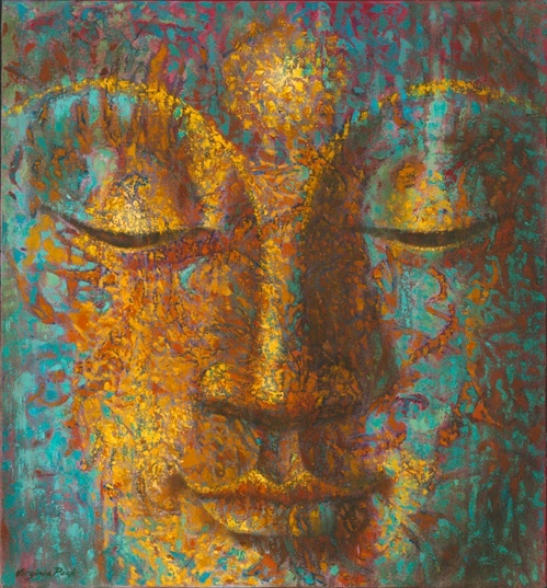 """What you are believing in the moment creates your suffering or your happiness.""    ~  Byron Katie  By: Virginia Peck Title: 'Realm of Light Buddha'  <3 lis"