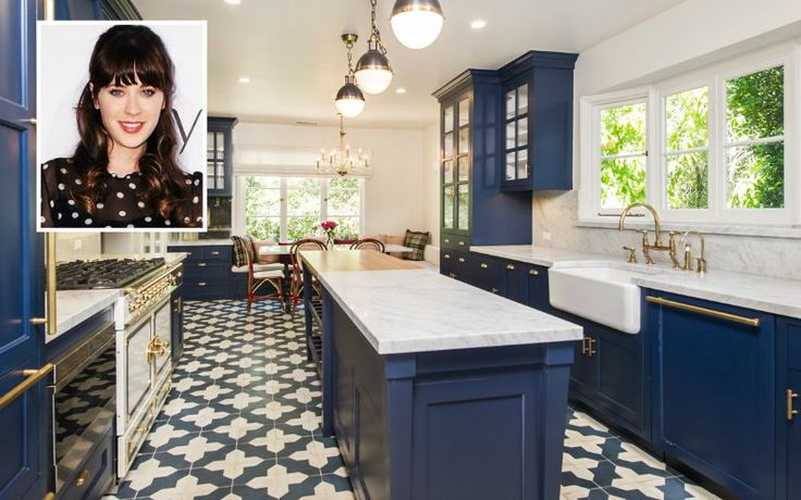 Zooey Deschanel's house for sale with blue kitchen