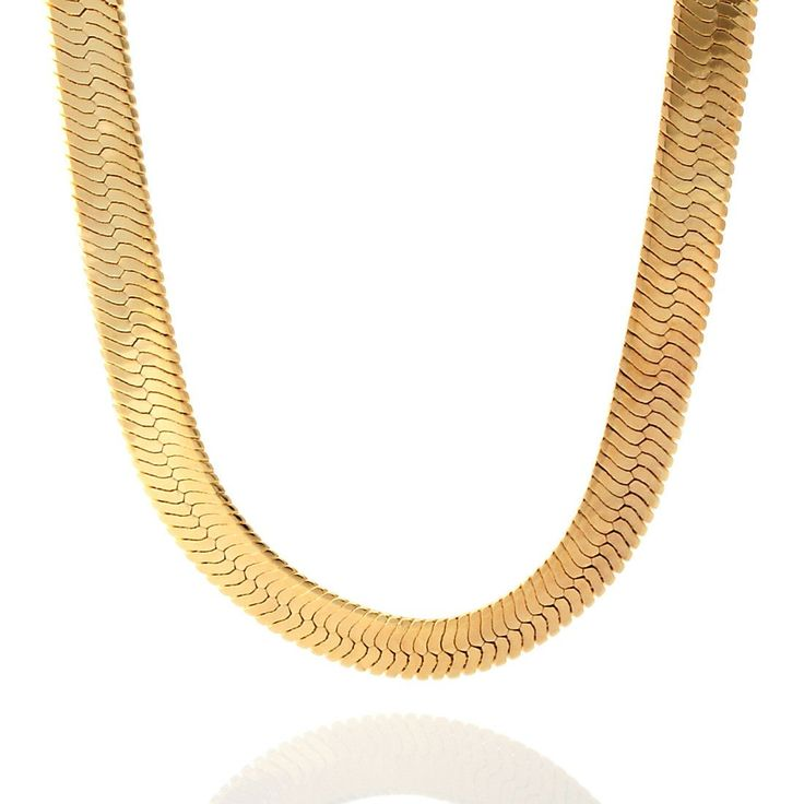 This 10mm Herringbone Chain takes its inspiration from Egyptian pharaohs, and comes covered in a 14K gold-ionic plating. The thin herringbone chains provide a flat, yet sophisticated look worn by some