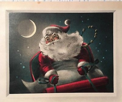 Vintage Mid Century Used Christmas Card Santa In His Sleigh Moon In Background