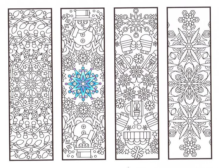 Four Cool Wintery Mandala Bookmarks To Print And Color By