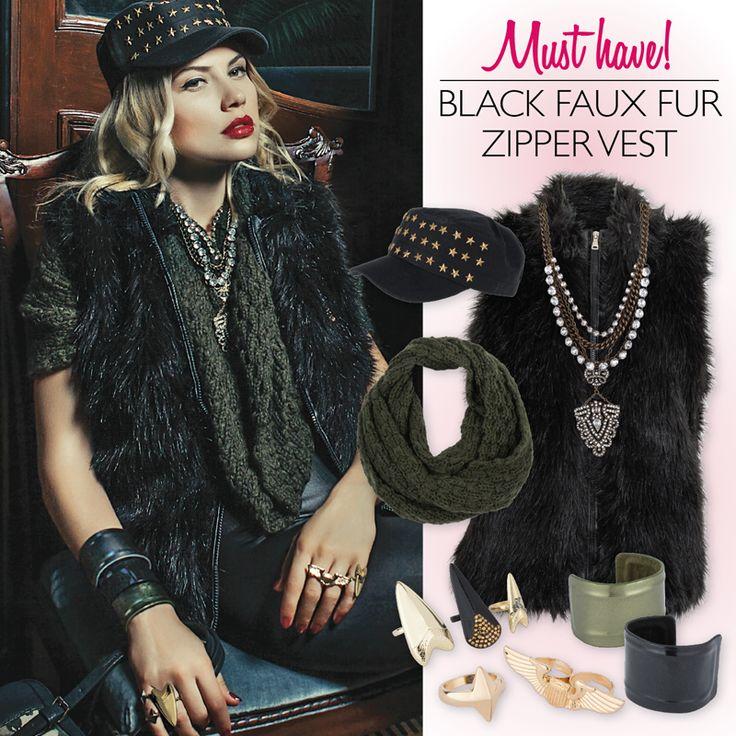 Achilleas accessories | Black faux fur zipper vest