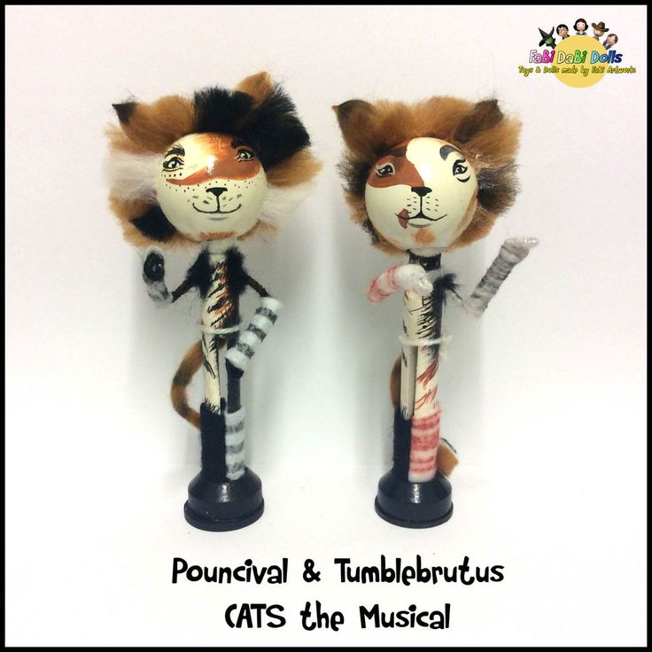 Pouncival and Tumblebrutus CATS the Musical peg dolls from FaBi DaBi Dolls