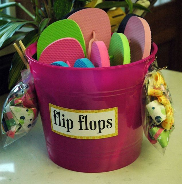 what a cute idea, buy some cheep $2.00 flip flops and decorate them yourselves! Love it! Cute gift for a teenage girl :)