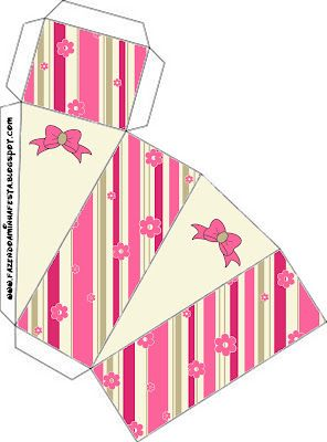 Cajitas imprimibles de flores y rayas rosa. 18 modelos diferentes.