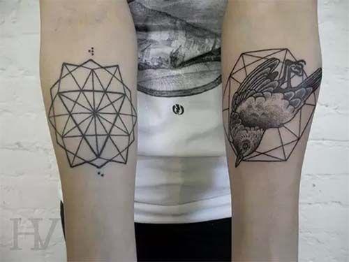 forearm geometric bird tattoo iç kol geometrik kuş dövmesi