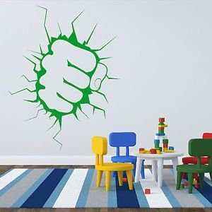 Iconic Stickers - The Incredible Hulk Fist Punch Boys Wall Sticker Art Decal Design Graphic Kid R3 - As Pictured - Size: Small - Colour: Black: Amazon.co.uk: Kitchen & Home