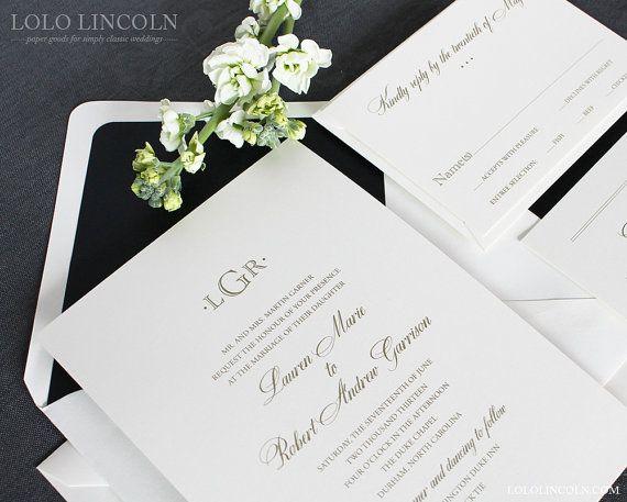 Preppy Monogram Wedding Invitation SAMPLE by LoloLincoln on Etsy, $5.00