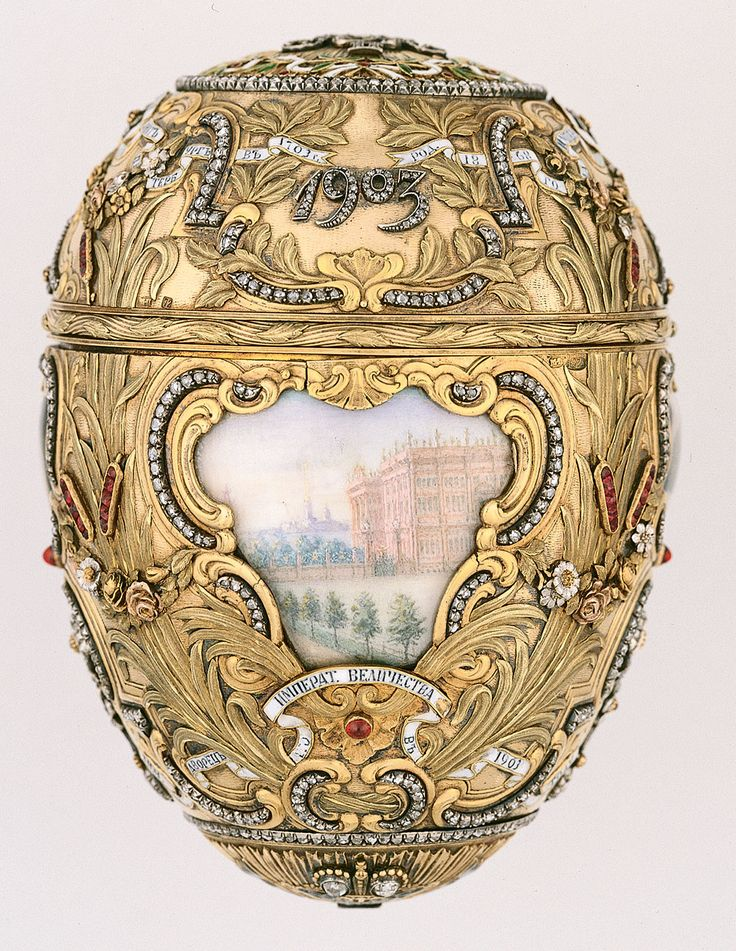 Fabergé firm   (Russian , 20th century) Mikhail Perkhin, Workmaster  (Russian , 1860 - 1903) Vasilii Zuiev, Painter of miniatures  (Russian , 1870 - unknown) Imperial Peter the Great Easter Egg 1903 Gold, platinum, diamonds, rubies, enamel, bronze, sapphire, watercolor on ivory, rock crystal