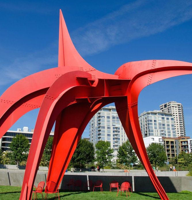 """""""Eagle"""" by Alexander Calder is located at Seattle's Olympic Sculpture Park."""