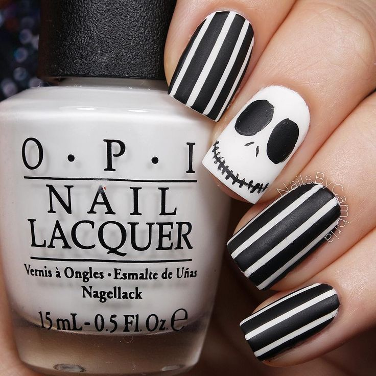 Cute Jack Skellington Nightmare Before Christmas Nails | Halloween ...