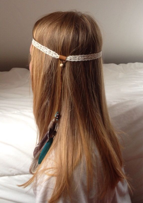 Bohemian Headband lace beads and feathers turquoise