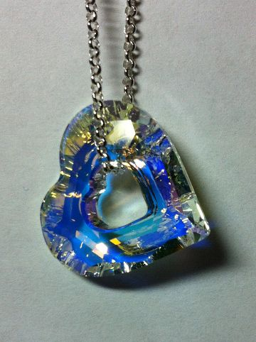 Swarovski AB hollow crystal Heart pendant. Add some sparkle to your day...