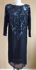 Antique VTG 1920s Rare Gown Dress Silk Chiffon Heavily Beaded Flapper 20s Deco