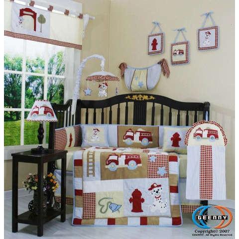 Fire Truck 13 Piece Crib Bedding Set - BabyBeddingZone.com