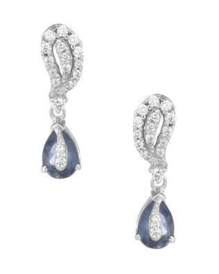 Dangler Earrings With CZ And Faux Sapphire |  Buy Designer & Fashion Earrings Online