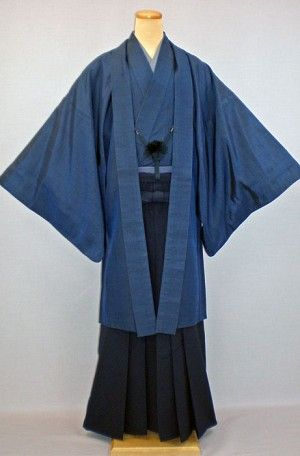dark blue hakama with matching haori and kimono