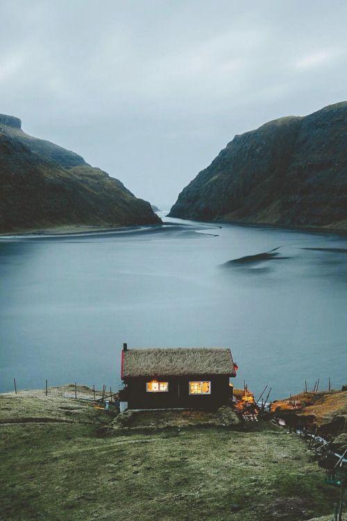 Dusk in the wilderness, lakeside cabin retreat
