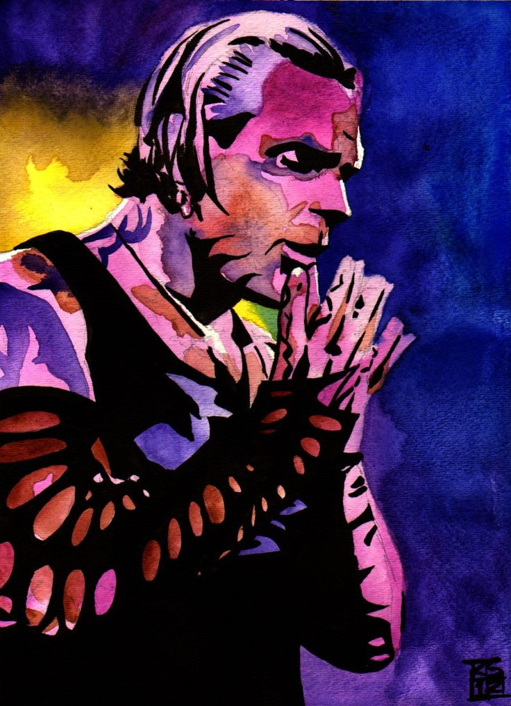 "Jeff Hardy - Ink and watercolor on 9"" x 12"" watercolor paper"