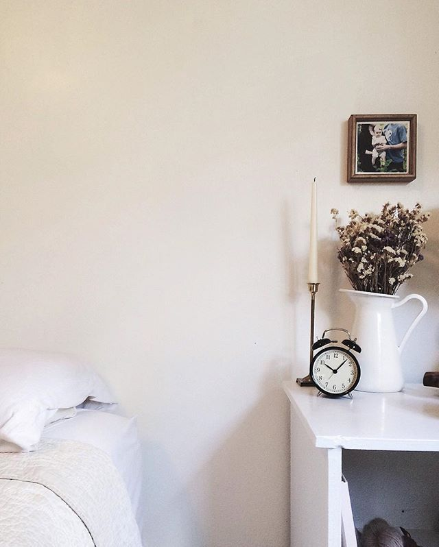 Simple bedside table styling.