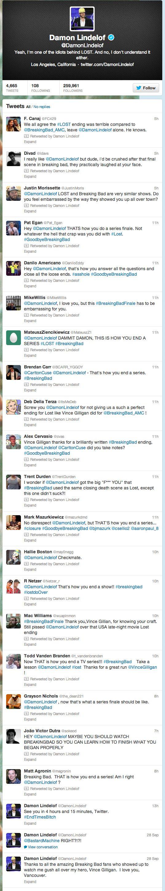 "Good Guy Damon | Damon Lindelof Has Good Sense Of Humor, Retweeted Bunch Of People Saying ""Breaking Bad"" Finale Was Better Than ""Lost"" Finale"