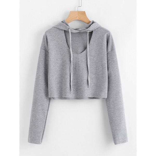 Hooded V Cut Sweatshirt ($7.99) ❤ liked on Polyvore featuring tops, hoodies and hooded top